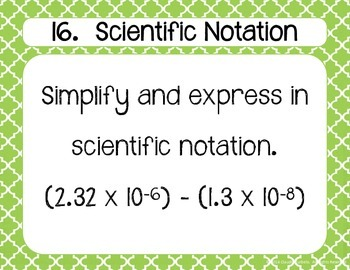 Scientific Notation Task Cards