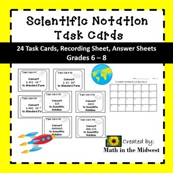 Scientific Notation Task Cards {Converting} 8.EE.4
