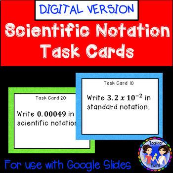 Scientific Notation Task Cards Google Digital Activity