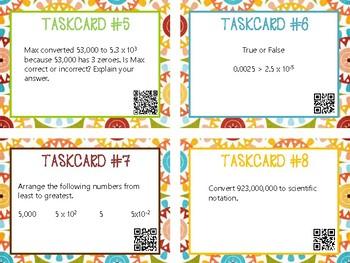 Scientific Notation Task Cards QR Codes