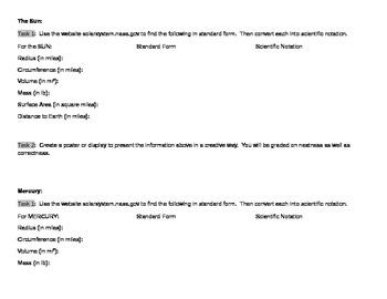 Scientific Notation Tasks