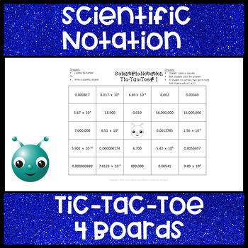 Scientific Notation Tic Tac Toe 5 x 5 Grid