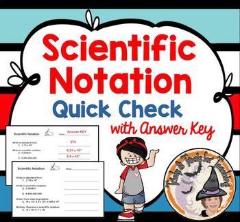 Scientific Notation Warm Up Practice Worksheet Quiz half sheet Exponential