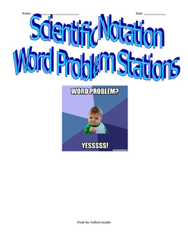 Scientific Notation Word Problem Stations