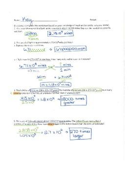 Scientific Notation Word Problems