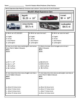 Scientific Notation Word Problems: Engaging 2 Part Practice