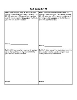 Scientific Notation Word Problems (Task Cards)