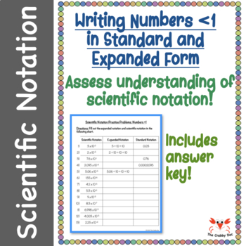 Scientific Notation Worksheet: Expanded and Standard Notations Numbers < 1