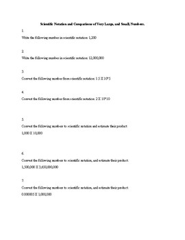 Scientific Notation Worksheet with Word Problems
