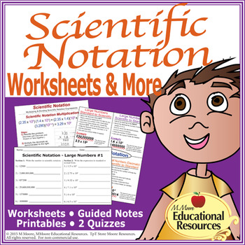 Scientific Notation - Worksheets, Guided Notes, Printables