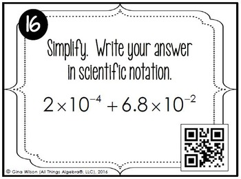Scientific Notation (Writing, Comparing, Operations, Applications) Task Cards