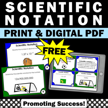 FREE Scientific Notation and Decimal Notation, 7th Grade Math Review