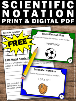 FREE Scientific Notation Task Cards