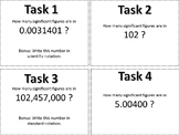 Scientific Notation and Siginificant Figures Task Cards