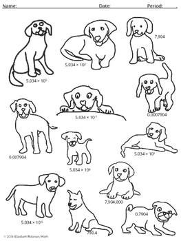 Scientific Notation and Standard Form: A Pound of Puppies! Coloring By Number