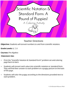 Scientific Notation and Standard Form: A Pound of Puppies!