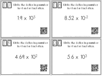 Scientific Notation and Standard Notation Task Cards with or without QR Codes!
