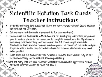 Scientific Notation and Standard Notation Task Cards with QR Codes