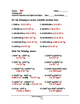 Scientific Notation and significant Digits Worksheet