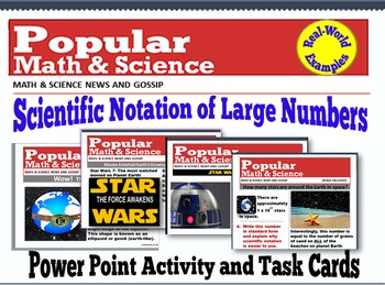 A Scientific Notation Power Point Activity and Task Cards (Star Wars 7 Data)