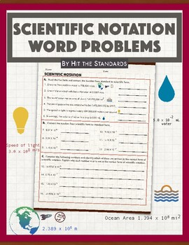 Scientific Notation Word Problems (Fun Facts) 8.2C