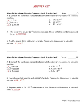 Scientific Notation with Negative Exponents Basic Practice 2 Sets