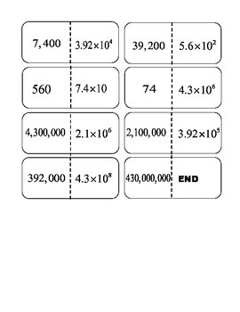 Scientific Notation with Positive Exponents Dominos