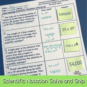 Scientific Notation with Positive Numbers Solve & Snip® Word Problems