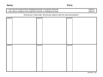 Scientific Notation with Very Small Numbers Task Cards and Practice Worksheets