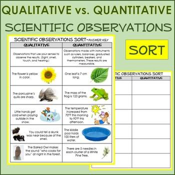 Scientific Observation: Qualitative vs Quantitative notes, activity, sort