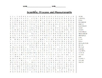 Scientific Process and Measurement Earth Science Word Search