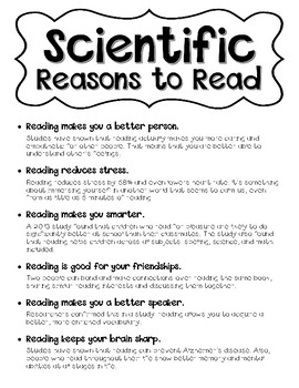 Scientific Reasons to Read Anchor Chart