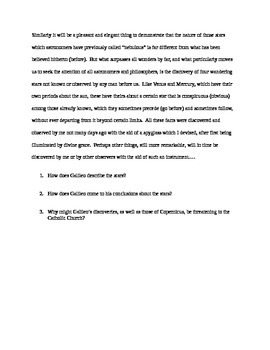 Scientific Revolution Galileo Primary Source Worksheet.  History 101