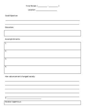 Scientific Revolution Project/Notes sheet