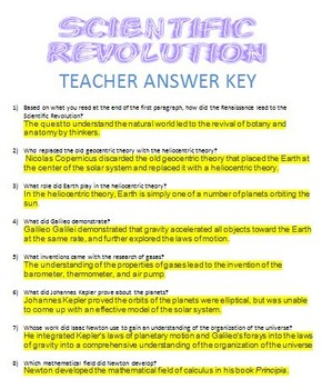 Scientific Revolution Review Sheet