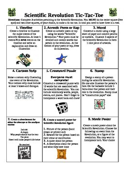 Scientific Revolution Tic-tac-toe project choice board