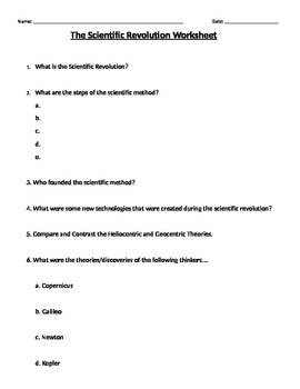 Global 2: Scientific Revolution Worksheet