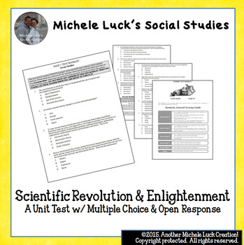 Scientific Revolution and Enlightenment Unit Test M/C + Open Response
