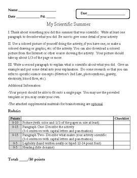 scientific summer project description and template by sped guru tpt