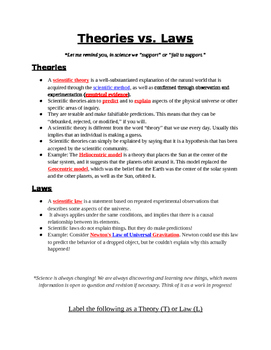 Scientific Theories vs. Scientific Laws