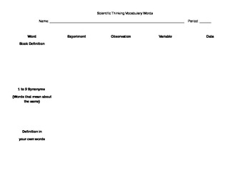 Scientific Thinking Vocabulary Worksheet