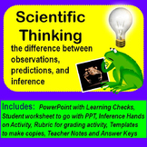 Scientific Thinking, difference between observing, predict