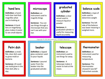 Science Tools Trading Cards and Word Wall Posters
