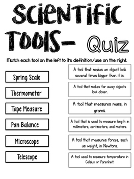 Scientific Tools Quiz