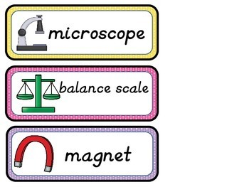 Scientific Tools- Vocabulary Cards and Teaching Points- Freebie!