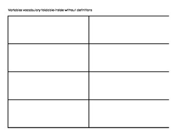 Scientific Variables Vocabulary Foldable