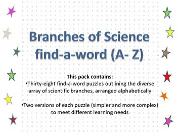 Scientific branches  find-a-word (A - Z)