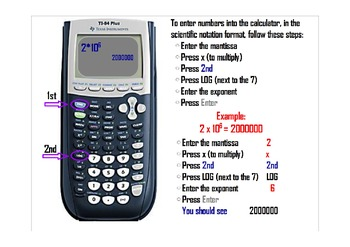 Scientific notation instructions for TI-84 Plus