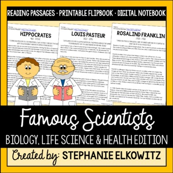 Famous Scientists Life Science Biology Reading Passages & Flip Book