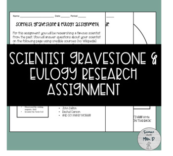 Scientist Gravestone & Eulogy Research Assignment